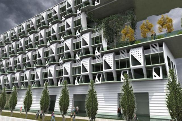 Weave House - Jako inspirace k tomuto bytovému domu posloužily vzory tkaných látek. Kromě toho celý komplex šetří energii. Vymysleli ho architekti ze studia Meridian105 Architects of Denver v Coloradu.