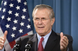 Secretary of Defense Rumsfeld during the media available with Ru