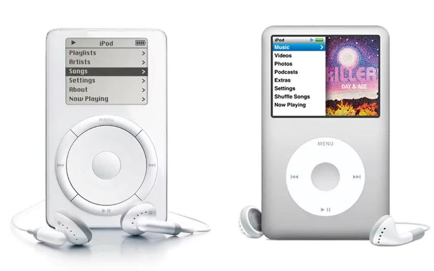 Ive stál i u zrodu přehrávače iPod. Vlevo z roku 2007, vpravo je pak mladší verze z roku 2011.  Zařízení změnilo celý trh i poslouchání hudby. Na iPodu byl navíc poprvé představen kruhový kontroler, který se zároveň stal hlavním designovým prvkem.