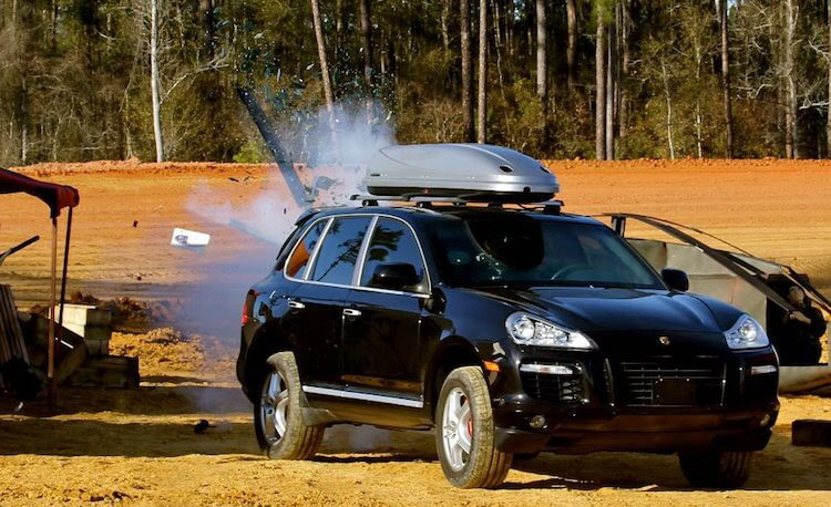 Bomb-Blanket-on-and-attacked-armored-bulletproof-attacked-porche-cayenne-armormax